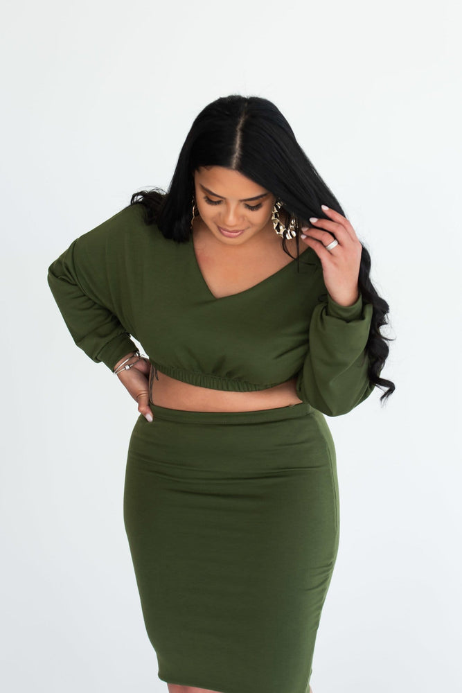 Eva cropped top with bodycon midi skirt