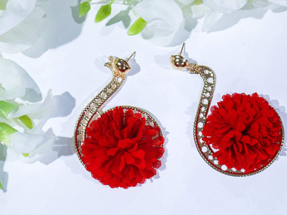 Red Rianha gold earrings - Seven Chique