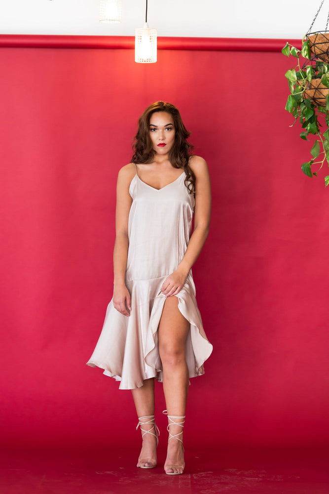 Salsa satin strappy plunge dress - Seven Chique