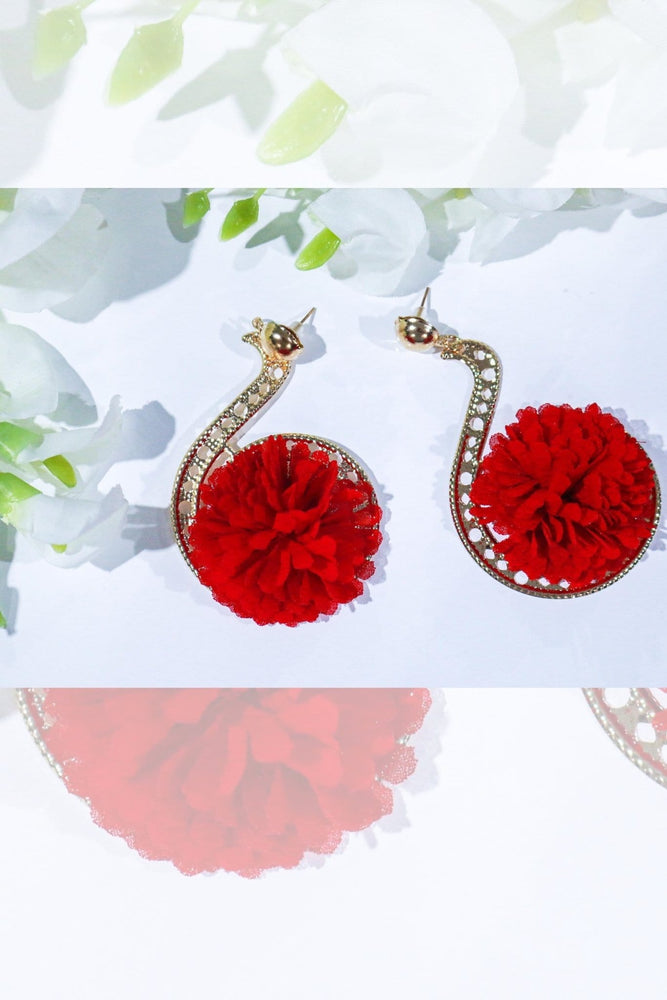 Red Rianha gold earrings