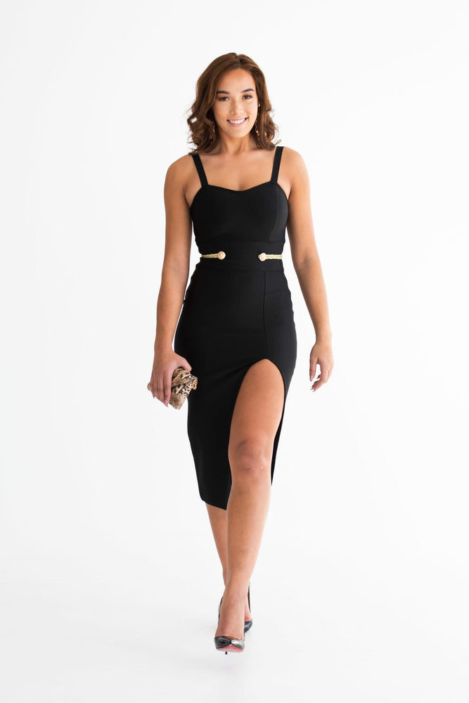 Lila front slit with gold line waistband dress - Seven Chique
