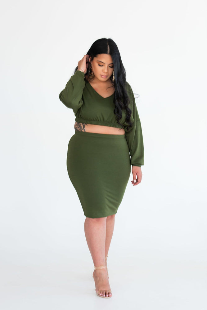 Eva cropped top with bodycon midi skirt - Seven Chique