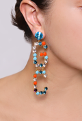Mix Strass Logo Earrings Marine