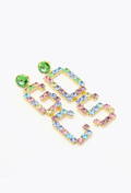 Mix Strass Logo Earrings