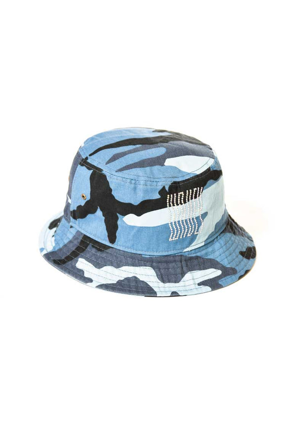 Blue Rhinestones Bucket Hat