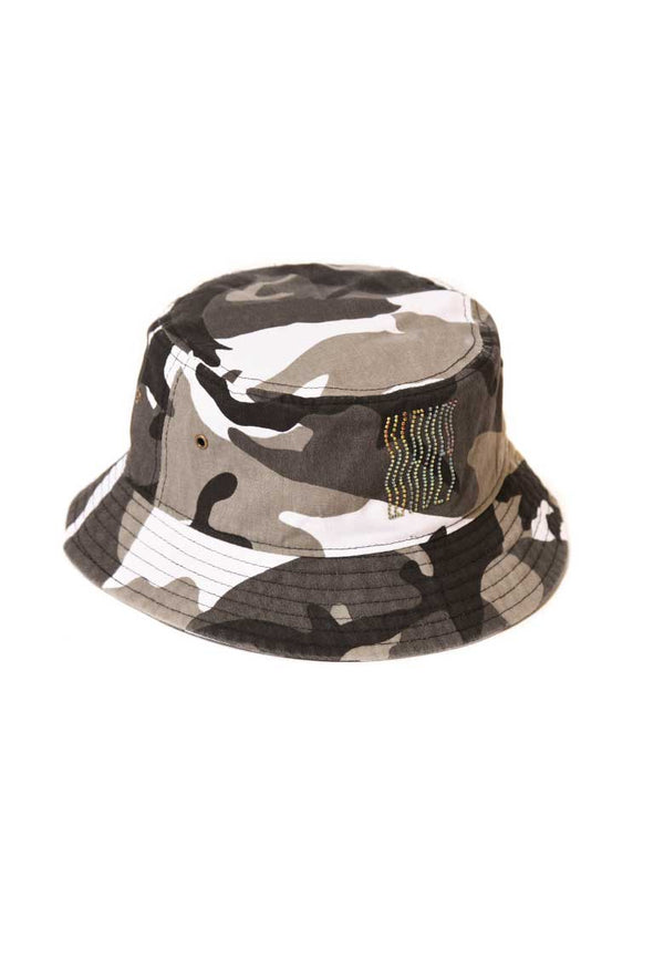 Green Camo Rhinestones Bucket Hat