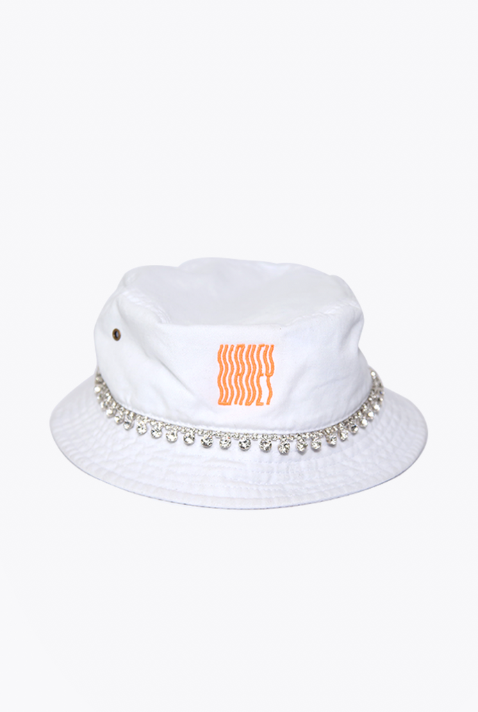 White/Orange Embelished Bucket Hat