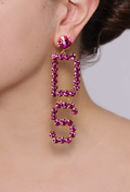 Mix Strass Logo Earrings Fucsia