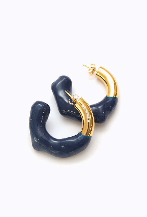 Round Earring Gold + Blue