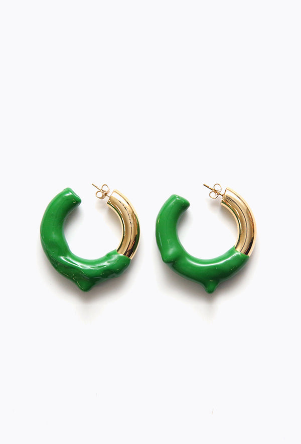 Round Earring Gold + Green