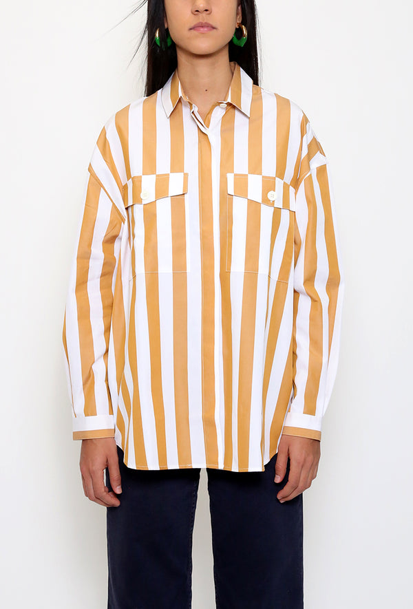 Over Shirt Beige Stripes