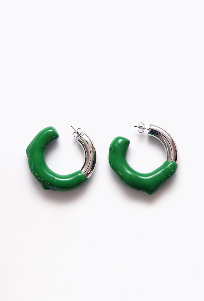 Round Earring Silver + Green