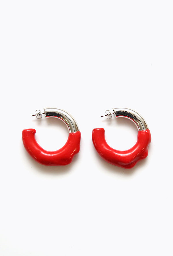 Round Earring Silver + Red