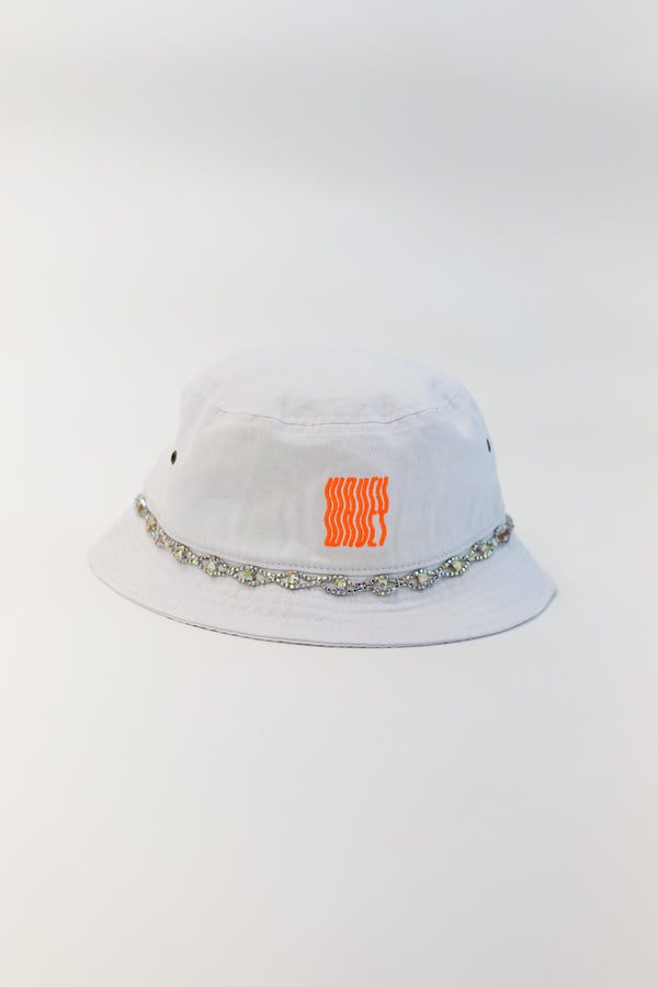 White - Neon Orange Iridesecent Eye Bucket Hat