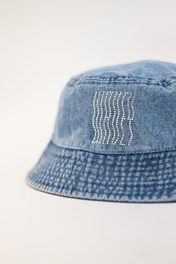 Light Denim Rhinestones Bucket Hat
