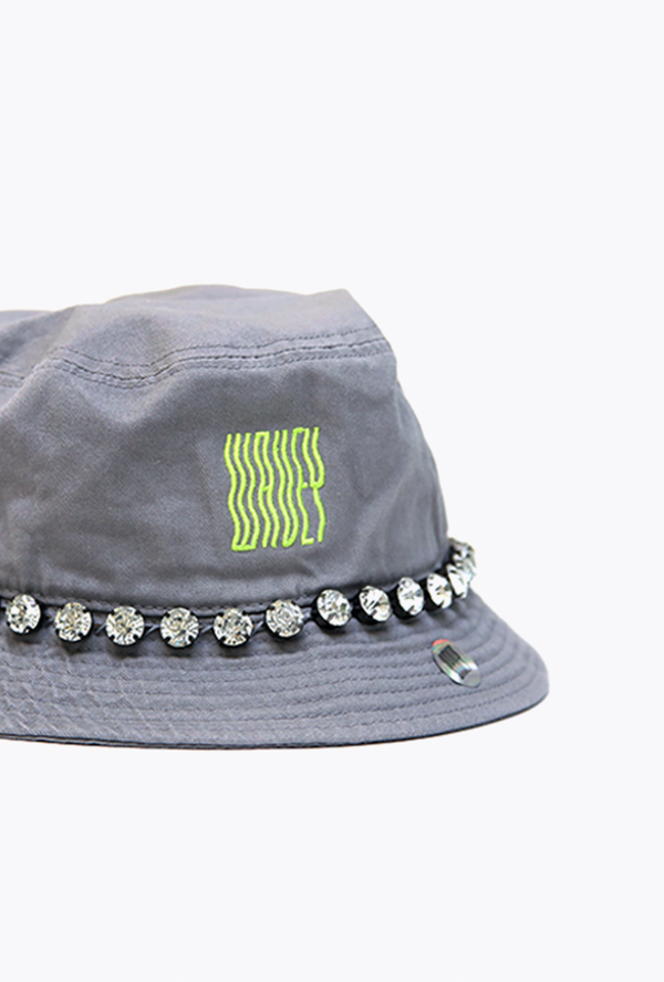 Embellished Grey/Green Neon Bucket Hat II