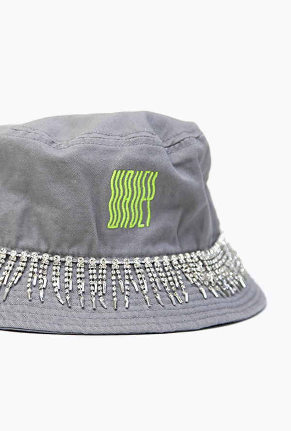 Embellished Grey/Green Neon Bucket Hat