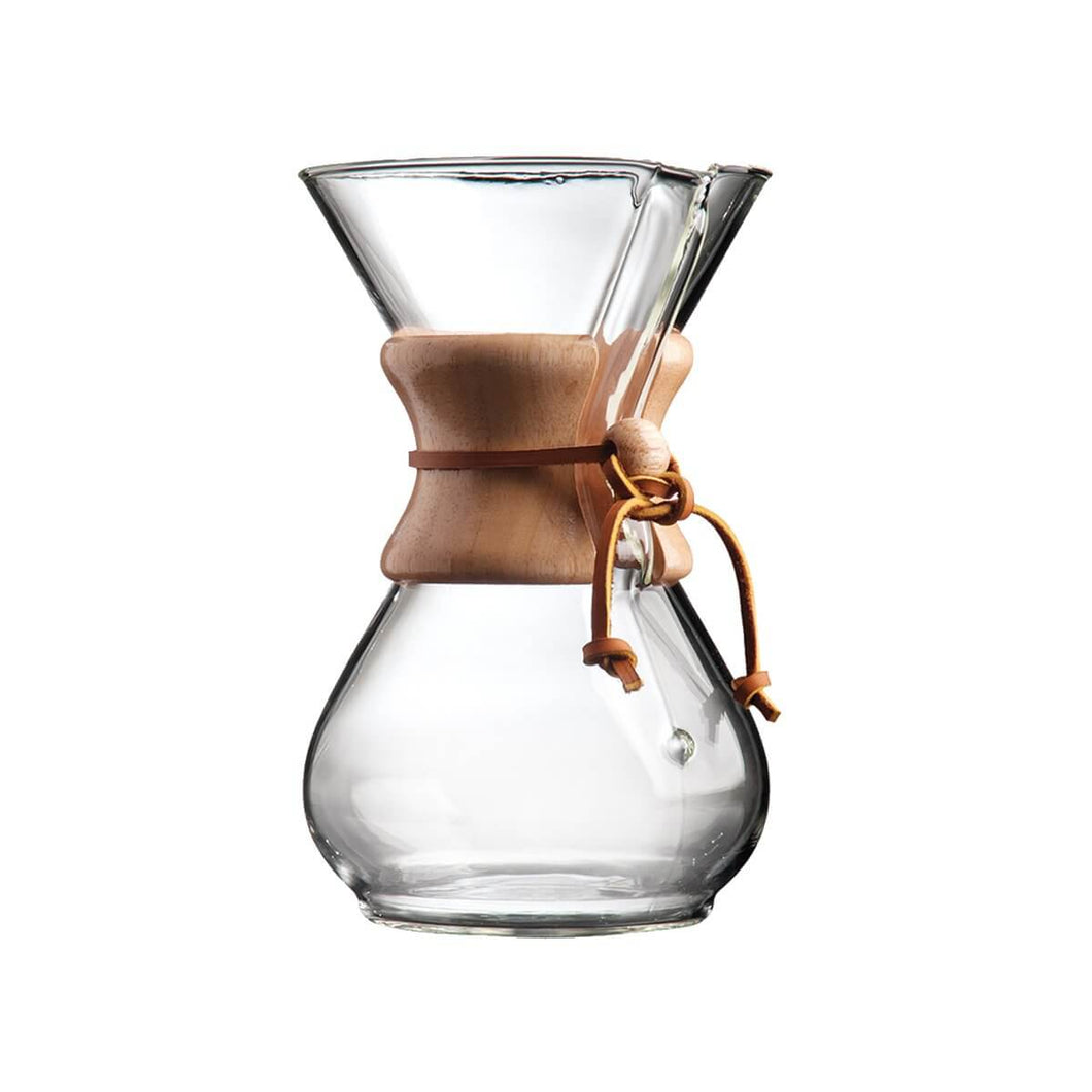 Chemex, classique, 6 tasses, cafetière, coffee maker, pourover brewing, 6 ou 8 tasses, 6 or 8 cups format