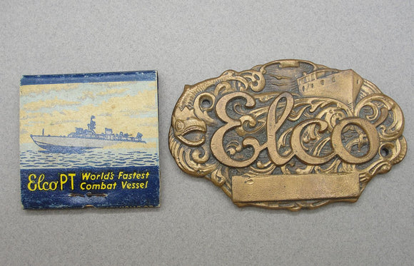 ELCO PT Boat Matchbook and Plaque