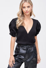 Load image into Gallery viewer, Black Puff Sleeve Bodysuit