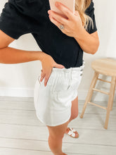 Load image into Gallery viewer, Carly White Vintage Denim High Waist Shorts