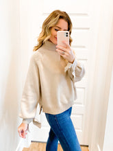 Load image into Gallery viewer, Taupe Tie Sleeve Turtleneck Sweater