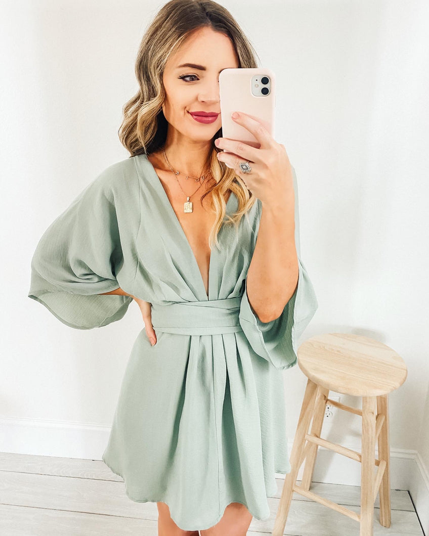Jade Kimono Wrap Tie Mini Dress in Sage