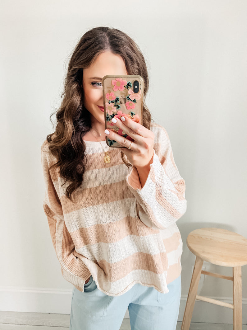Just Beachy Oversized Knit Striped Sweater