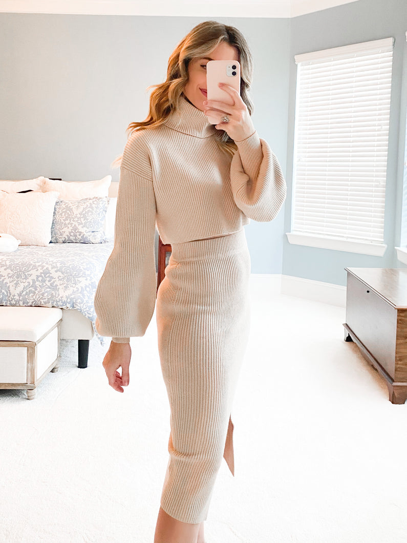 Beige Knit Ribbed Cropped Turtleneck Sweater
