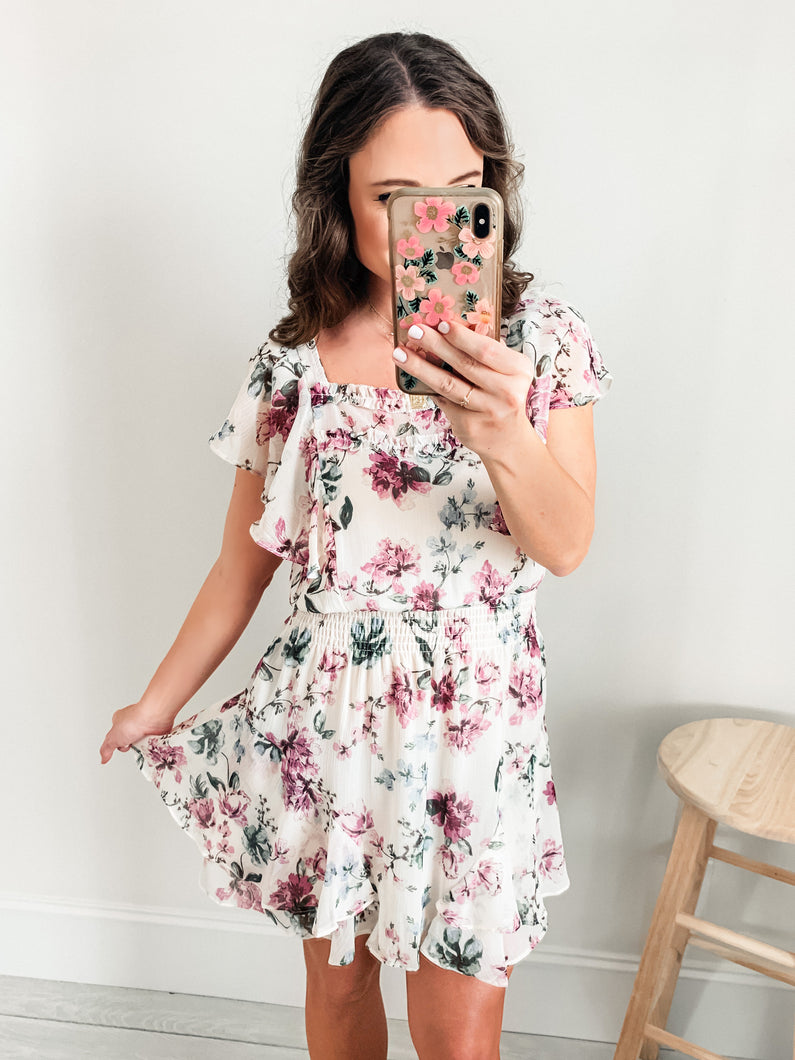 Madi White Floral Dress with Smocked Waist