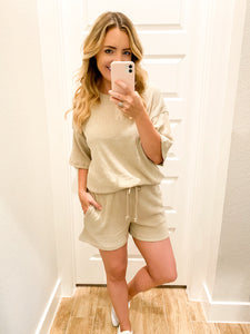 Ribbed Shorts Set- Taupe
