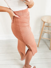 Load image into Gallery viewer, Clay Ribbed Knit Midi Skirt