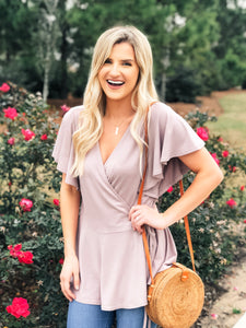 Dusty Rose Wrap Top