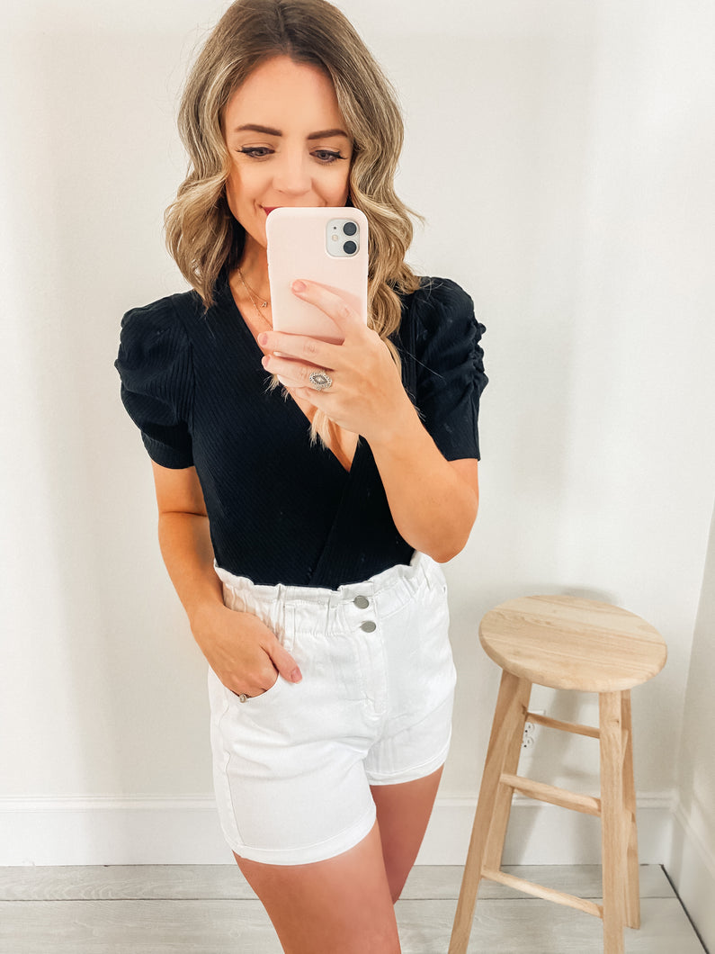 Carly White Vintage Denim High Waist Shorts