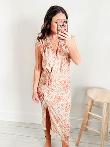 Amber Floral Print Ruched Midi Dress