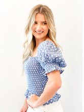 Load image into Gallery viewer, Polka Dot Smocked Puff Sleeve Top