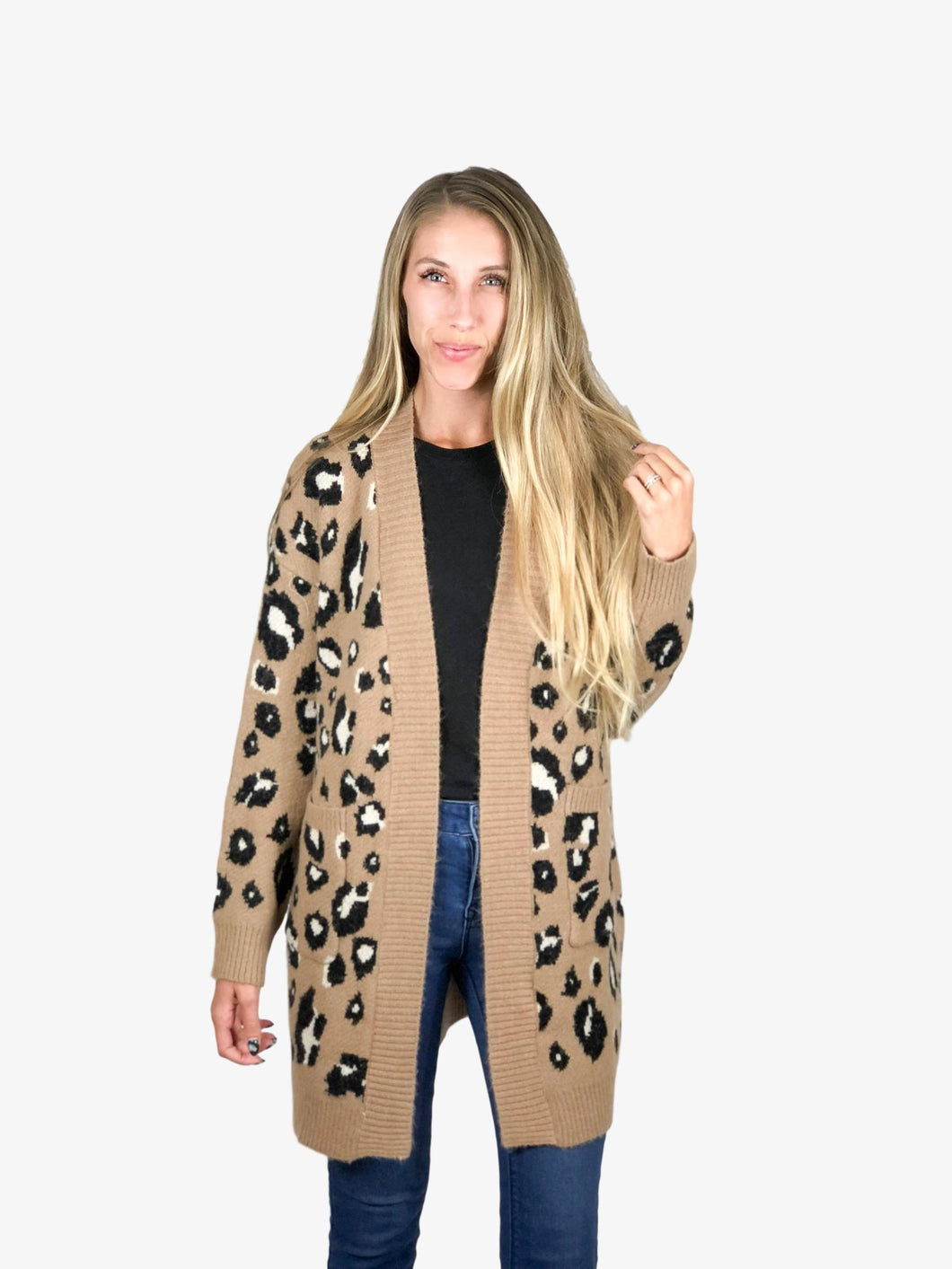 Leopard Print Sweater Cardigan