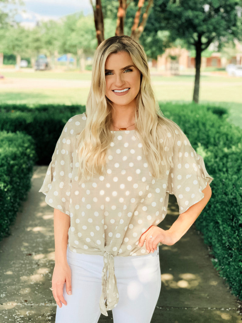 Taupe Polka Dot Top