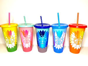 Color Changing Sunflower Tumbler