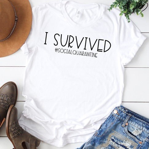 I Survived Social Quarantine Tee GREY