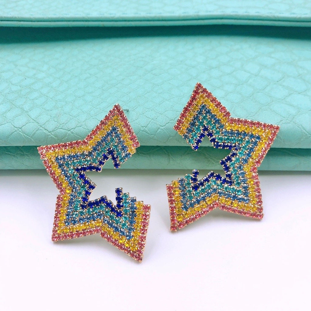 Rainbow Half Star Earrings
