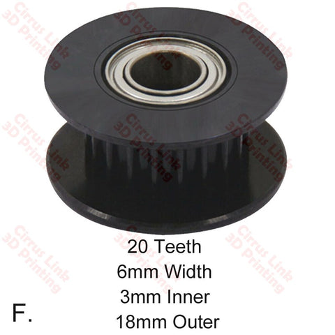 20 Teeth 6mm Width 3mm Inner 18mm Outer GT2 Idler Pulley Wheel