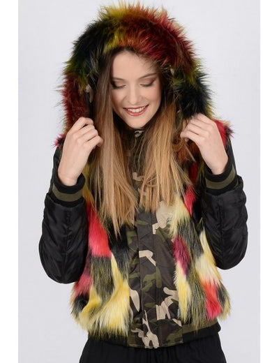 Molly Bracken Camo Fur Jacket