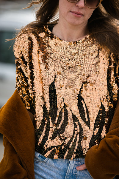 blouse | copper sequins top