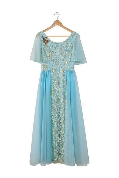 cloud nine | vintage 1970s chiffon + gold metallic dress