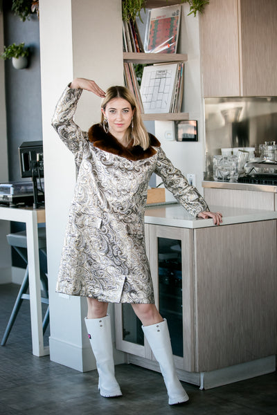 Silver Bells | metallic shift dress