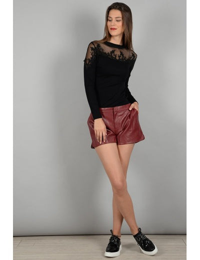 Short Simili Red Faux Leather Short