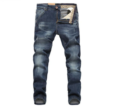 Designer Dark Blue Cotton Jeans for Men, Dark Blue Cowboy Denim/Jeans for Men