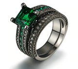 Green Crystal Cubic Zirconia Ring Sets, Engagement / Wedding Ring Set for Women