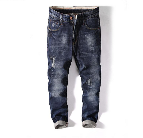 Dark Colour Ripped Denim Jeans For Men, Biker Jeans for Men